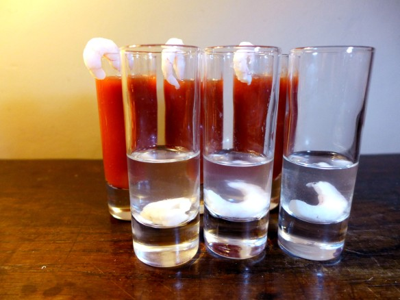 Image of spicy prawn vodka and Bloody Marys