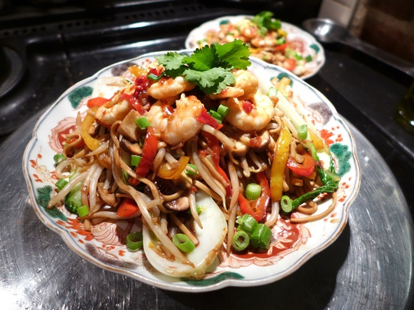 Image of garlic chilli prawns with stir-fried veg