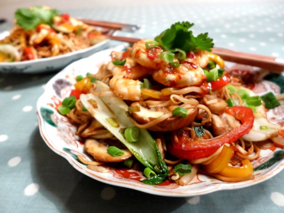 Image of garlic chilli prawns, served