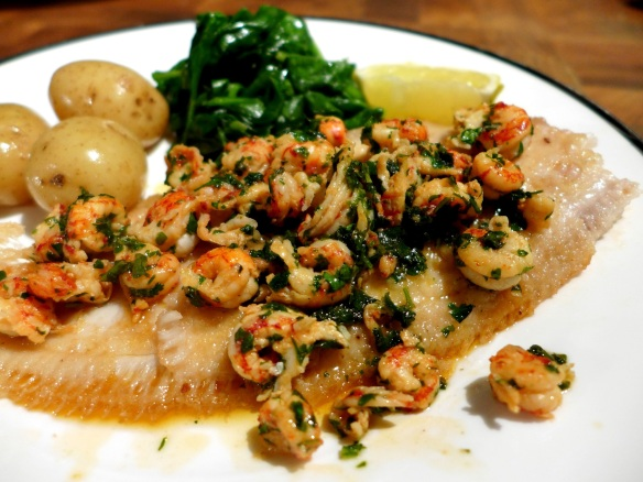 Image of Dover sole with crayfish tails