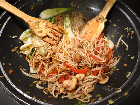 Image of vegetables and noodles, stir-fried