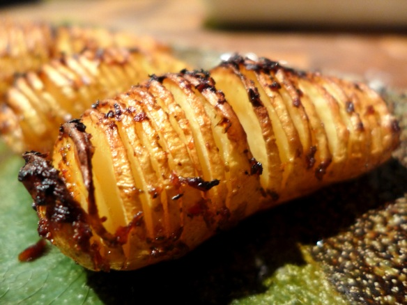 Image of Hasselback potatoes with harissa