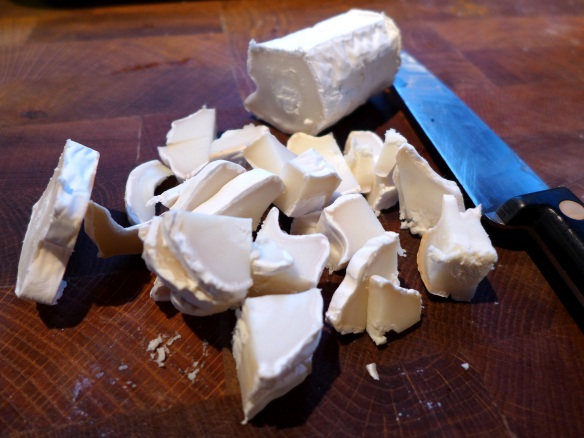 Image of goats' cheese, chopped