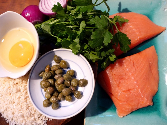 Image of ingredients for salmon burgers