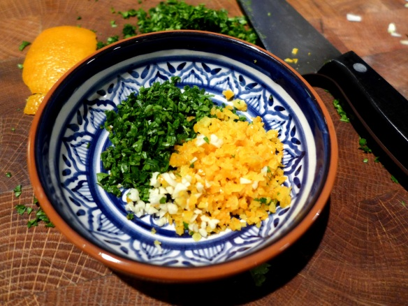 Image of gremolata ready for mixing