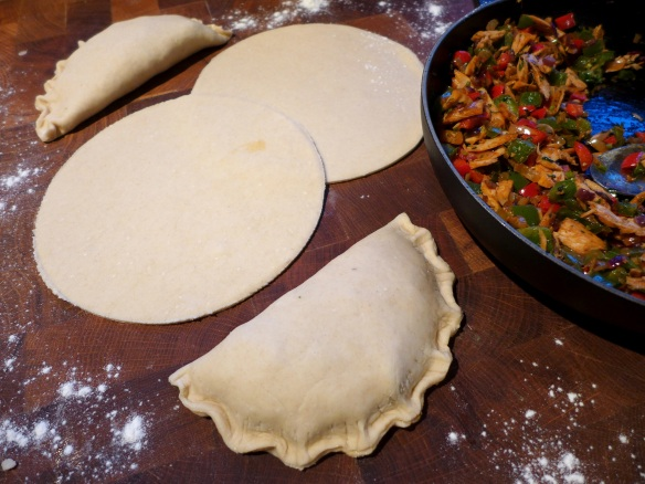 Image of the empanadas being formed