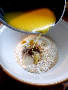 Image of milk and butter added to dough