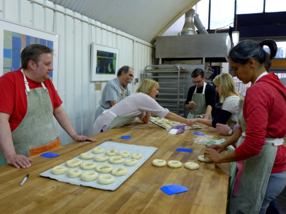 Image of class members making bagels