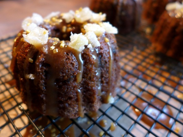 Image of Date and Ginger Bundts with Toffee Drizzle