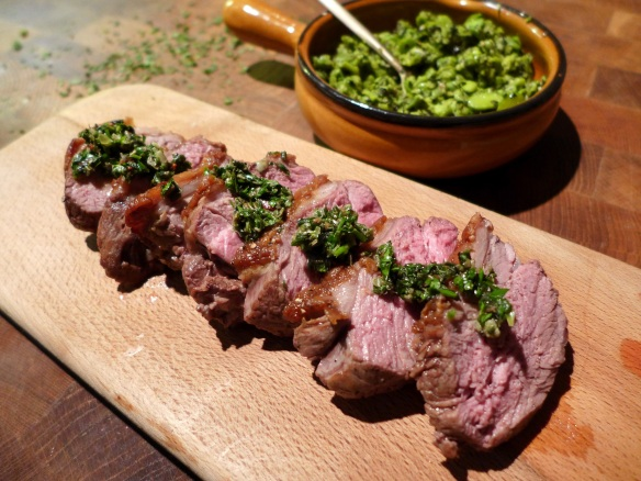 Image of Lamb with Salsa Verde and Crushed Broad Beans