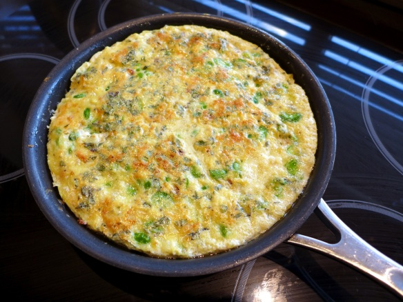 Image of broad bean and mint frittata, cooked