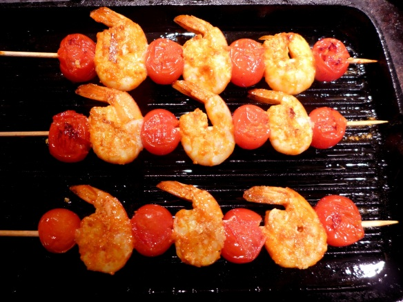Image of prawns on the griddle
