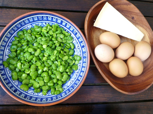 Image of double-podded beans, parmesan and eggs