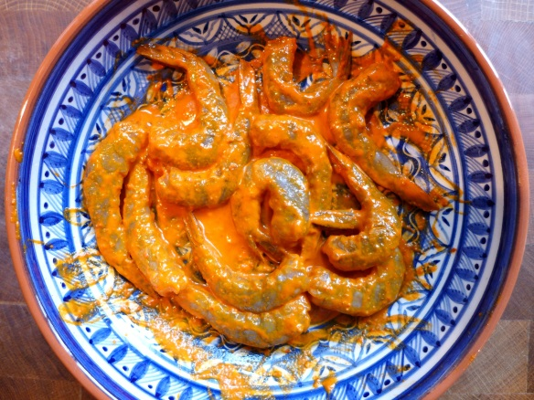 Image of prawns in piri piri marinade