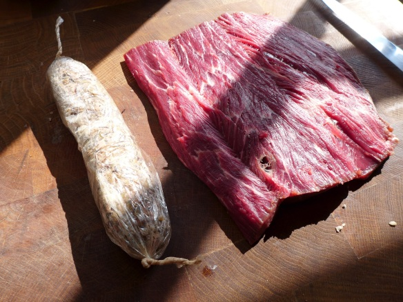 Image of mushroom stuffing and butterflied beef fillet