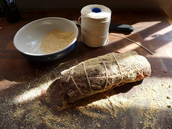 Image of rolled fillet coated in dried smoked mushroom powder