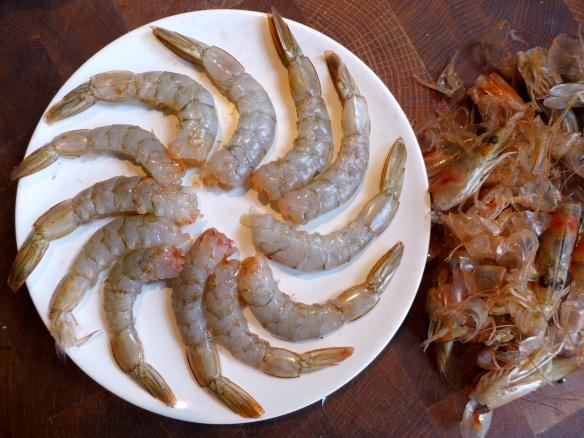 Image of raw prawns, shelled