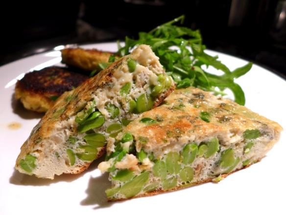 Image of broad bean and mint frittata, sliced and served