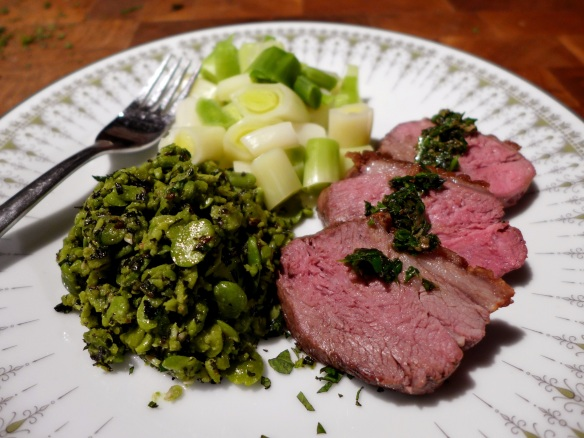 Image of Lamb with Salsa Verde and Crushed Broad Beans, served