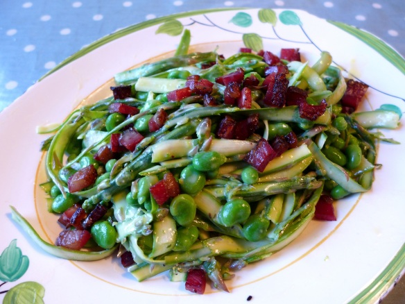 Image of shaved asparagus salad, served
