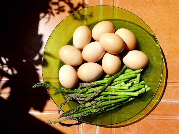 Image of Suffolk eggs and asparagus in Spain