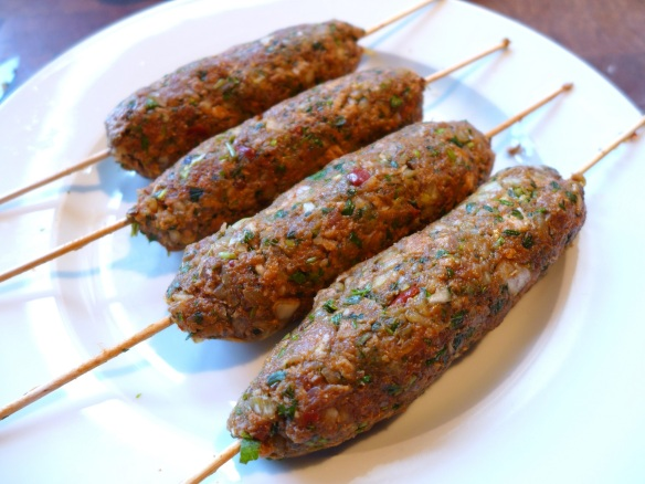 Image of lamb kofta kebabs before cooking