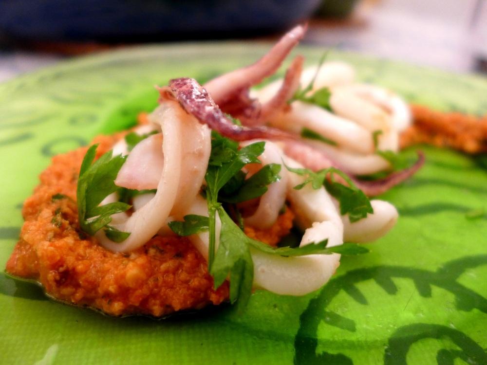 Image of squid with romesco sauce