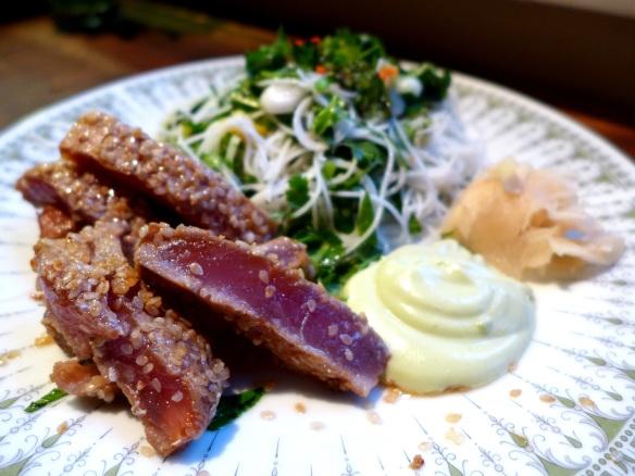 Image of seared tuna with wasabi mayo