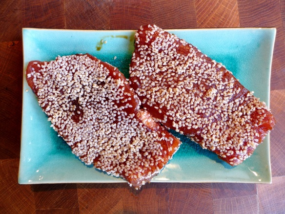 Image of sesame-coated tuna steaks