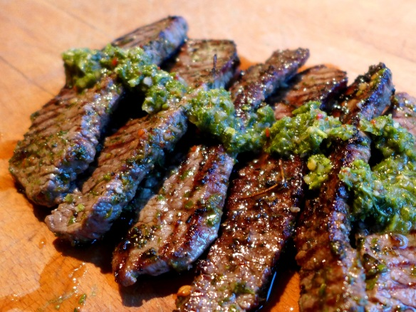 Image of minute steaks with chimichurri