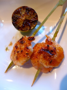Image of chilli prawn pops, served with lime