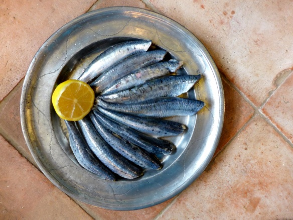 Image of boned sardines on a pewter plate