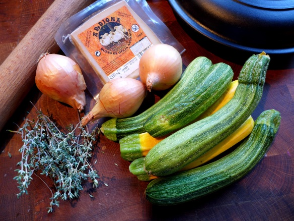 Image of ingredients for courgette tarte tatin