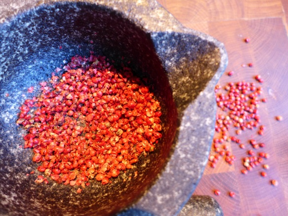 Image of crushed pink peppercorns