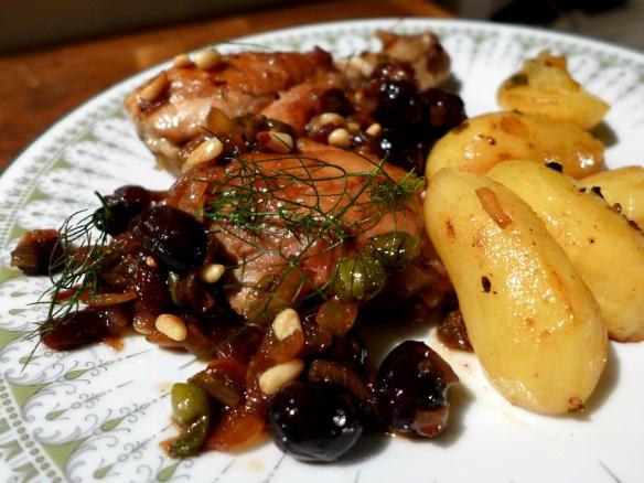 Image of chicken agrodolce, served