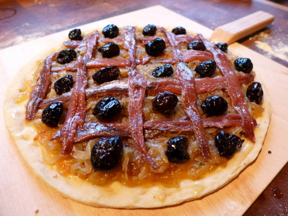 Image of pissaladière ready for oven