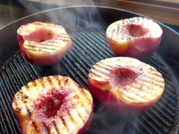 Image of peaches being griddled