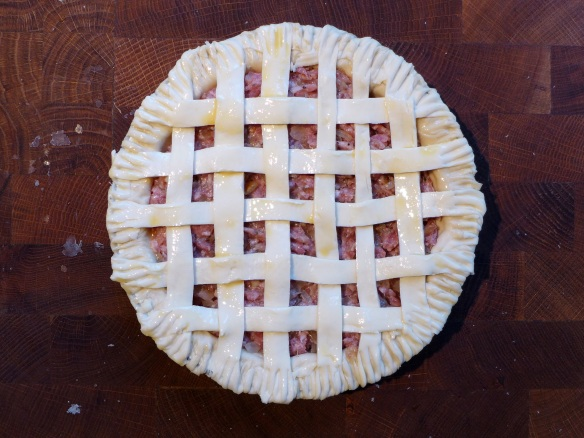 Image of latticed pie ready for the oven