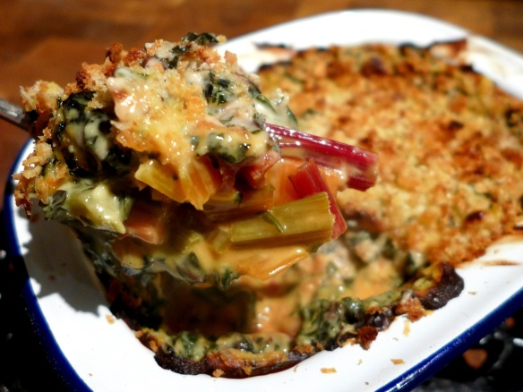 Image of a spoonful of chard gratin