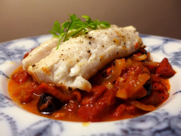 Image of hake with peperonata, served