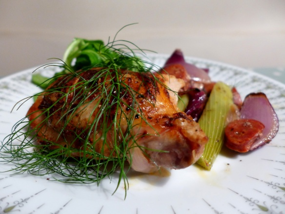 Image of chicken with fennel and chorizo, served