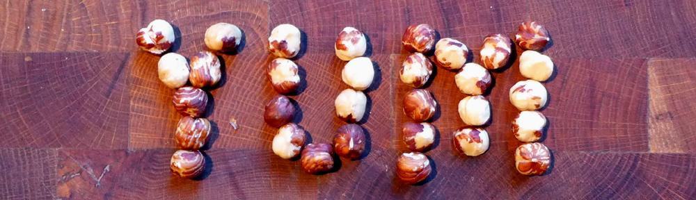 Image of hazelnuts saying yum