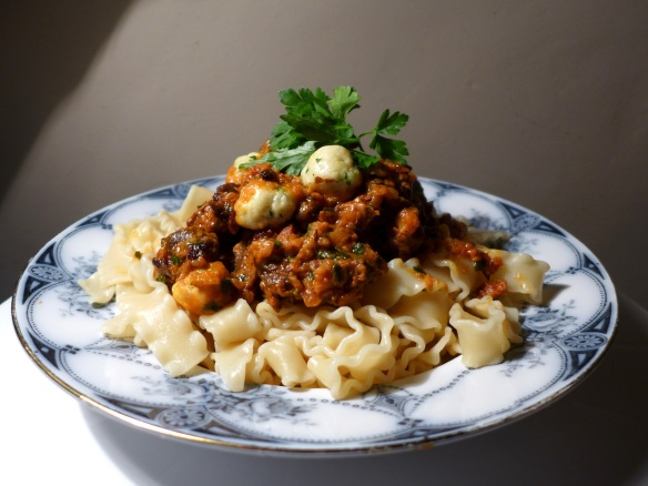 Image of venison goulash with noodles
