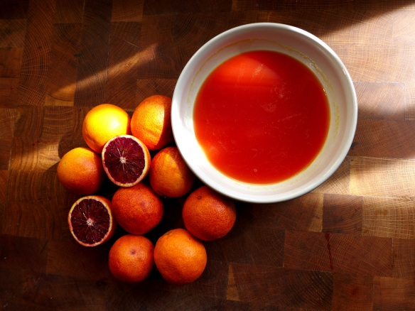 Image of blood orange emulsion setting