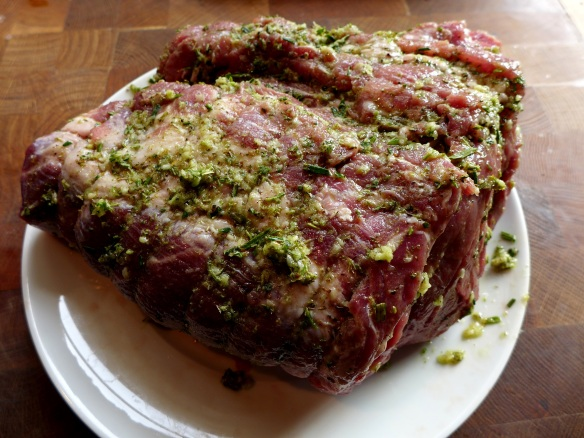 Image of pork anointed with garlic and herb paste