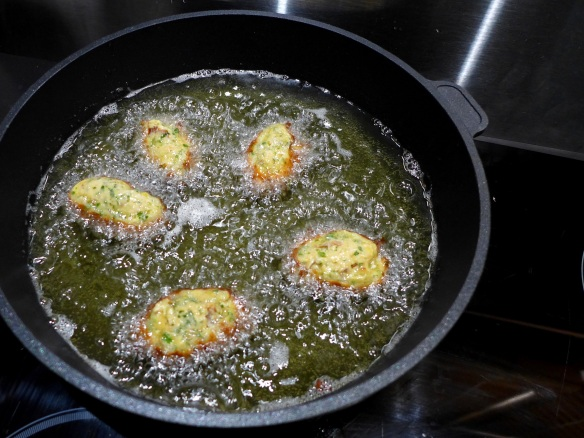 Image of crab beignets frying
