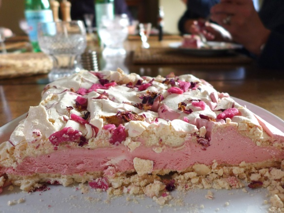 Image of Raspberry and Rose Meringue Torte, sliced