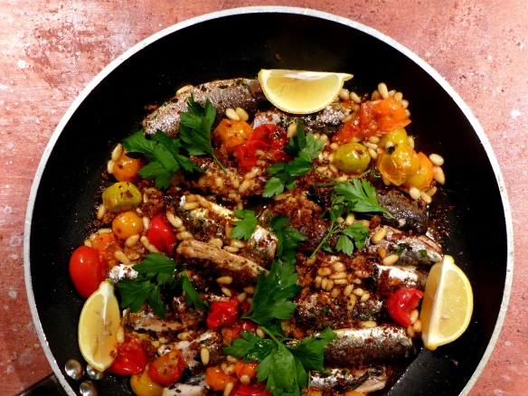 Image of sardines with tomatoes and pine nuts