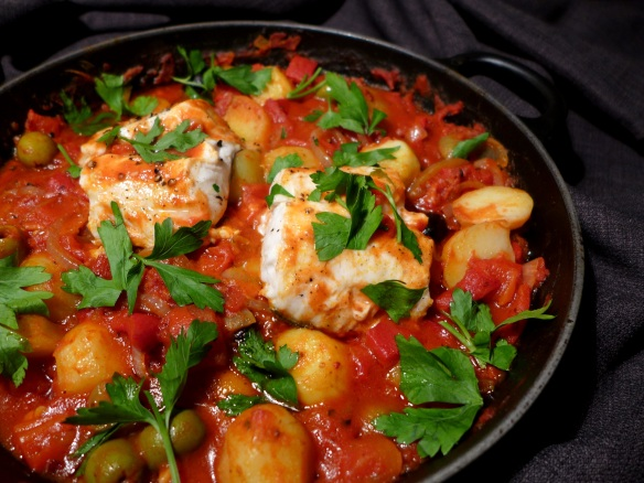 Image of hake with chorizo and olives