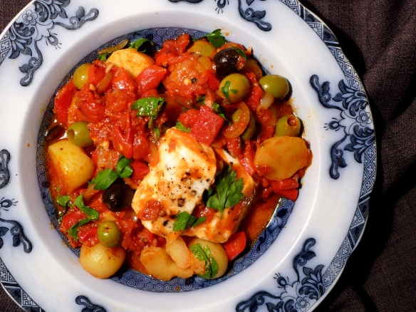 Image of Hake with Chorizo and Olives, served